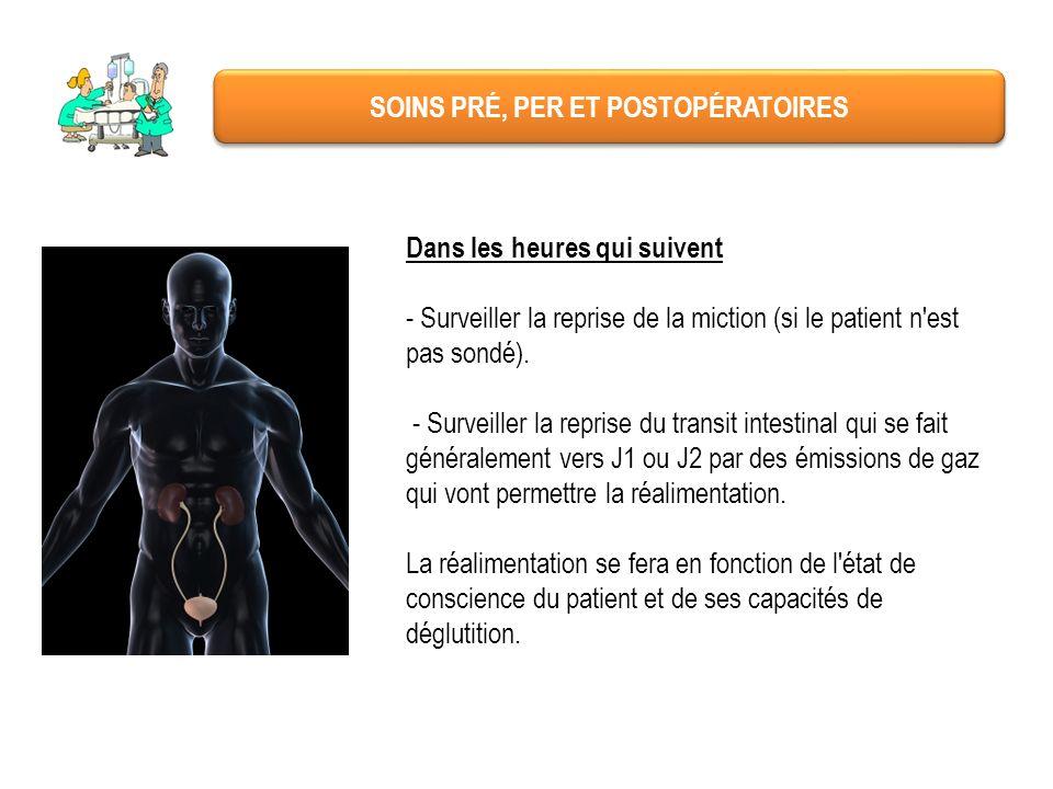 SOINS PRÉ, PER ET POSTOPÉRATOIRES Dans les heures qui suivent - Surveiller la reprise de la miction (si le patient n'est pas sondé). - Surveiller la r