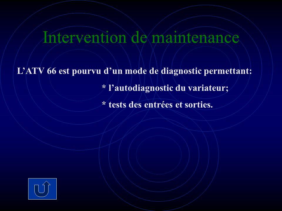 Intervention de maintenance LATV 66 est pourvu dun mode de diagnostic permettant: * lautodiagnostic du variateur; * tests des entrées et sorties.