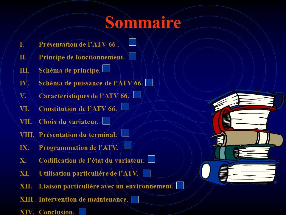 Sommaire I.Présentation de lATV 66. II.Principe de fonctionnement. III.Schéma de principe. IV.Schéma de puissance de lATV 66. V.Caractéristiques de lA