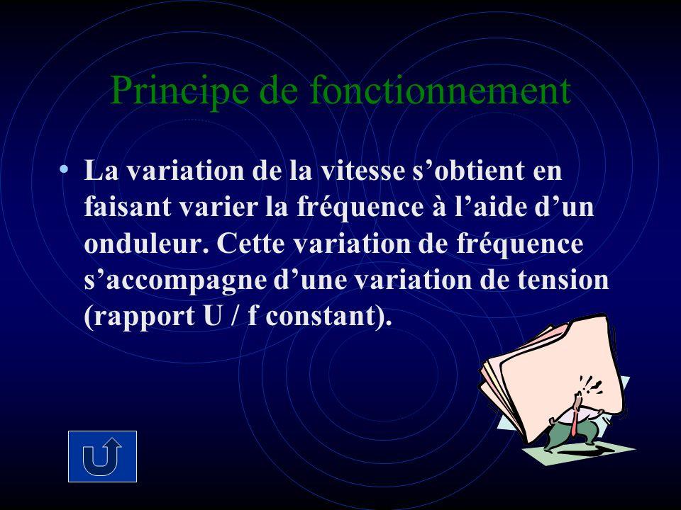 Principe de fonctionnement La variation de la vitesse sobtient en faisant varier la fréquence à laide dun onduleur. Cette variation de fréquence sacco