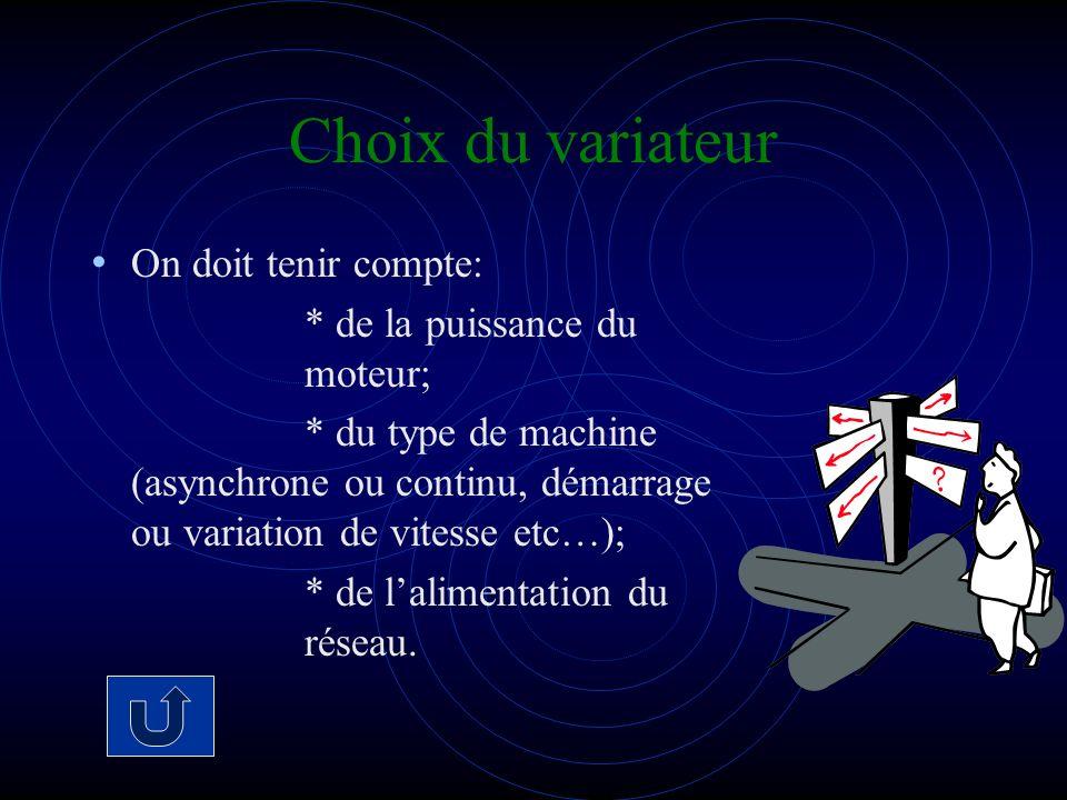 Choix du variateur On doit tenir compte: * de la puissance du moteur; * du type de machine (asynchrone ou continu, démarrage ou variation de vitesse e