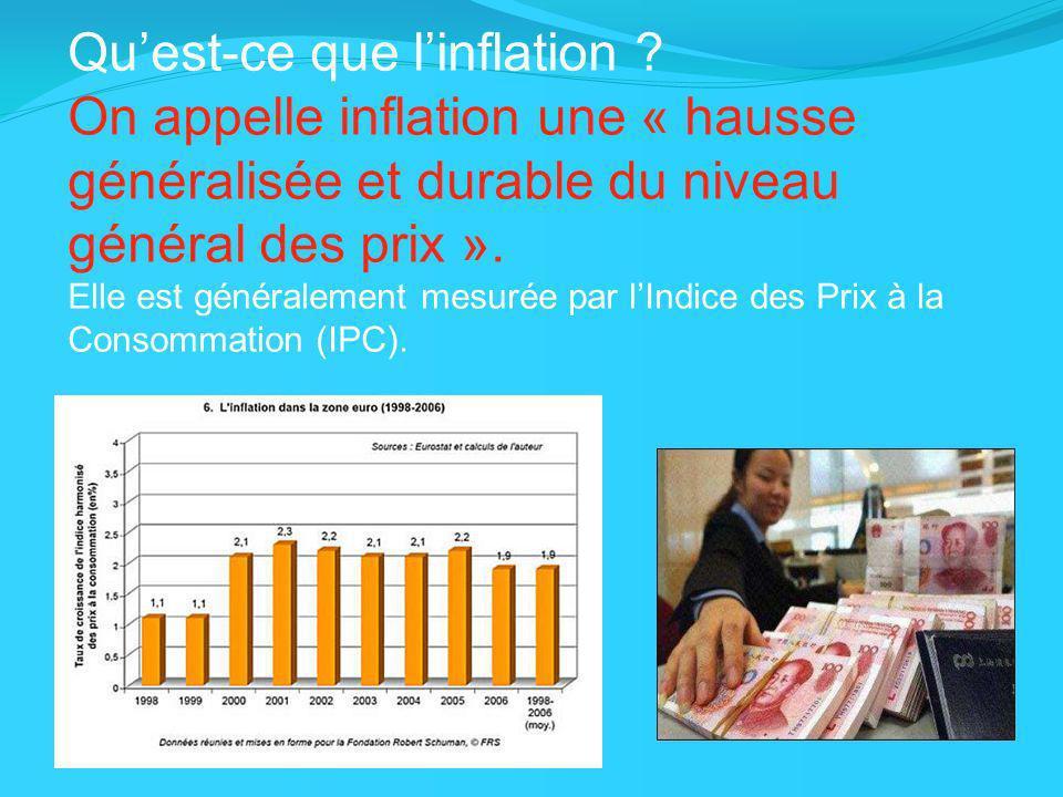 Quest-ce que linflation ? On appelle inflation une « hausse généralisée et durable du niveau général des prix ». Elle est généralement mesurée par lIn