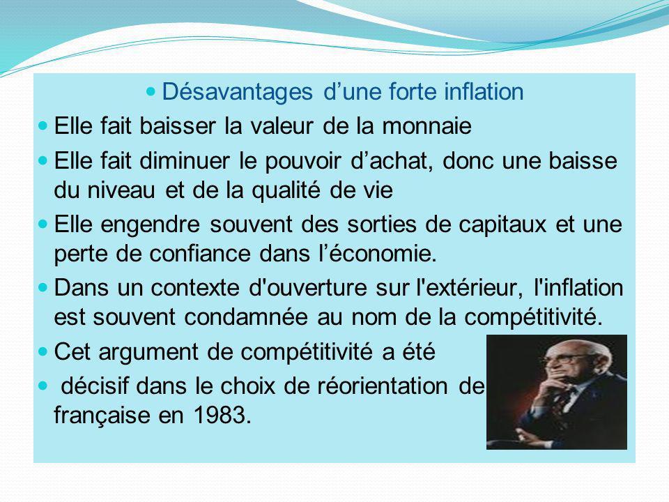 Désavantages dune forte inflation Elle fait baisser la valeur de la monnaie Elle fait diminuer le pouvoir dachat, donc une baisse du niveau et de la q
