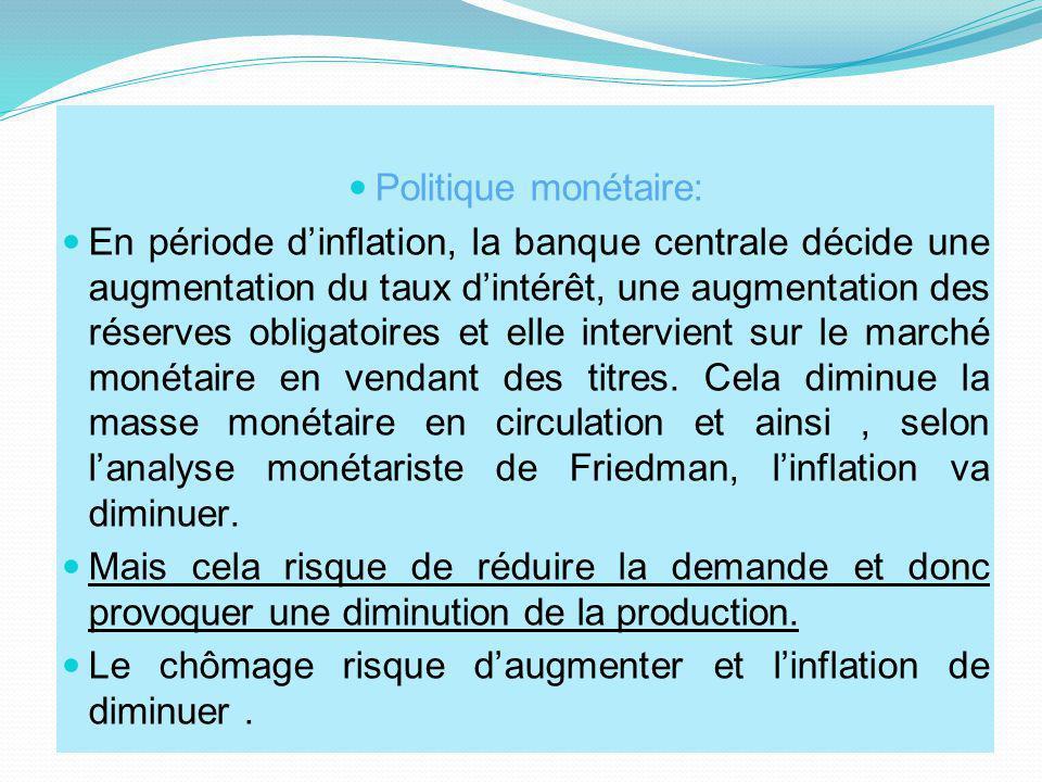Politique monétaire: En période dinflation, la banque centrale décide une augmentation du taux dintérêt, une augmentation des réserves obligatoires et