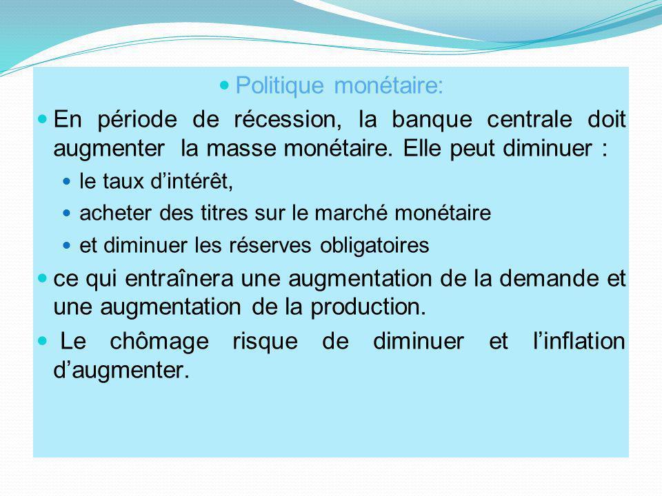 Politique monétaire: En période de récession, la banque centrale doit augmenter la masse monétaire. Elle peut diminuer : le taux dintérêt, acheter des