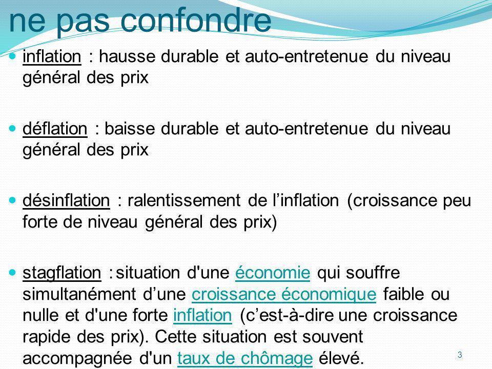 3 ne pas confondre inflation : hausse durable et auto-entretenue du niveau général des prix déflation : baisse durable et auto-entretenue du niveau gé