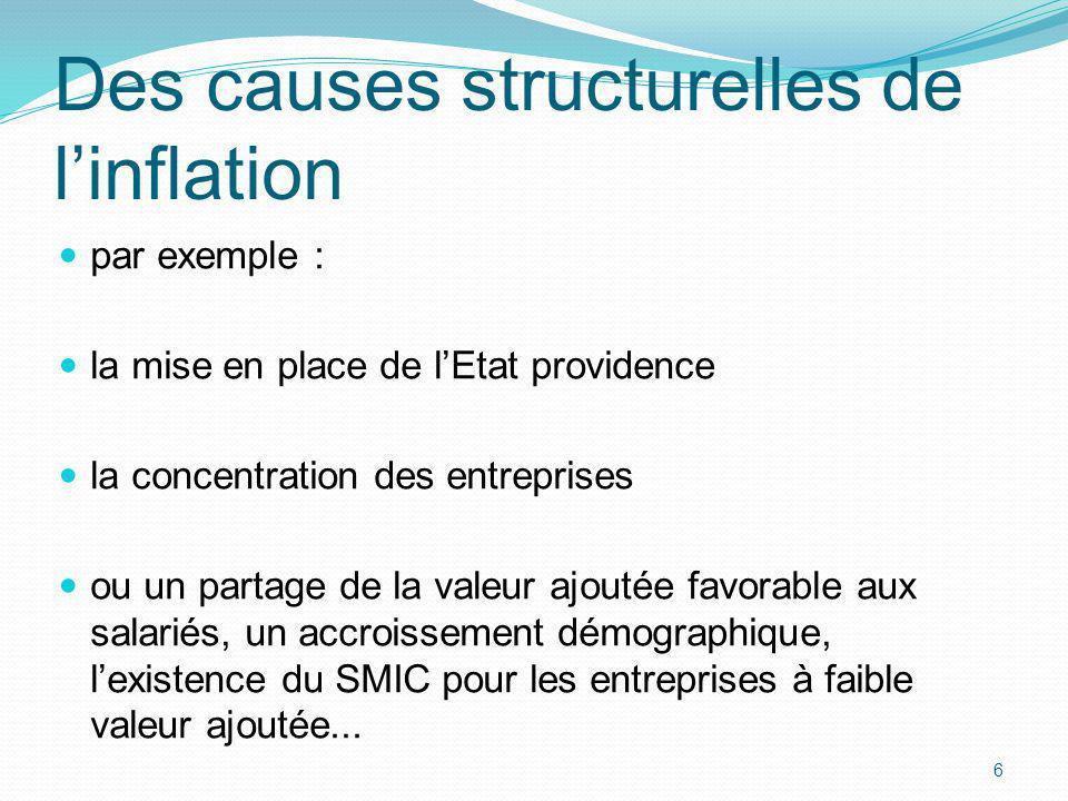 6 Des causes structurelles de linflation par exemple : la mise en place de lEtat providence la concentration des entreprises ou un partage de la valeu