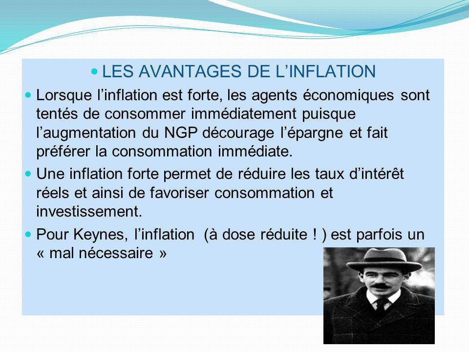 LES AVANTAGES DE LINFLATION Lorsque linflation est forte, les agents économiques sont tentés de consommer immédiatement puisque laugmentation du NGP d