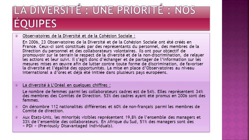 Observatoires de la Diversité et de la Cohésion Sociale : En 2006, 23 Observatoires de la Diversité et de la Cohésion Sociale ont été créés en France.