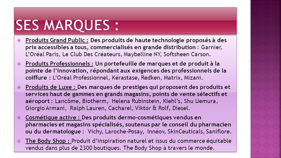 Produits Grand Public : Des produits de haute technologie proposés à des prix accessibles a tous, commercialisés en grande distribution : Garnier, LOr