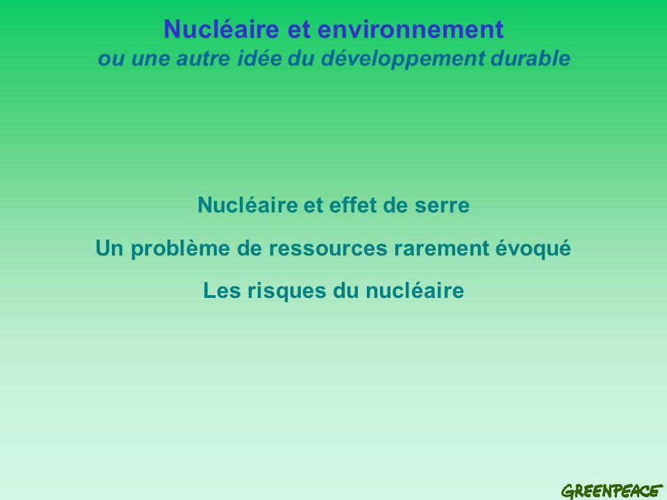 Nucléaire et environnement ou une autre idée du développement durable Nucléaire et effet de serre Un problème de ressources rarement évoqué Les risques du nucléaire