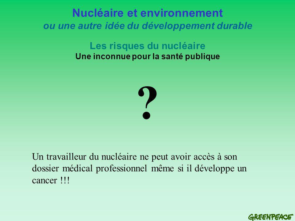 Nucléaire et environnement ou une autre idée du développement durable Les risques du nucléaire Une inconnue pour la santé publique .
