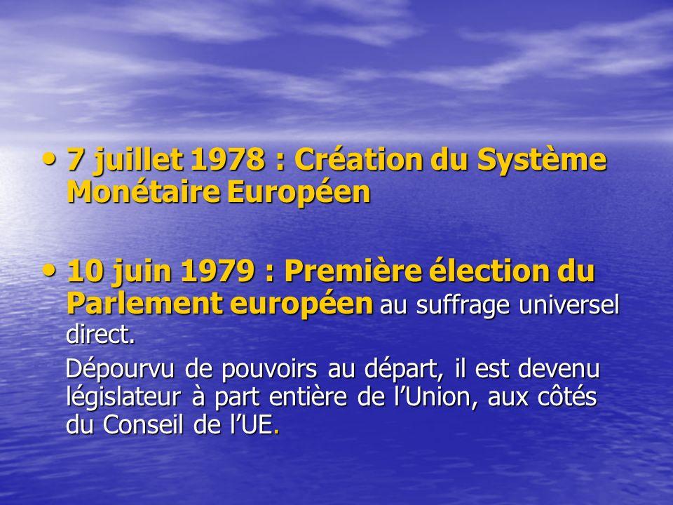 7 juillet 1978 : Création du Système Monétaire Européen 7 juillet 1978 : Création du Système Monétaire Européen 10 juin 1979 : Première élection du Parlement européen au suffrage universel direct.
