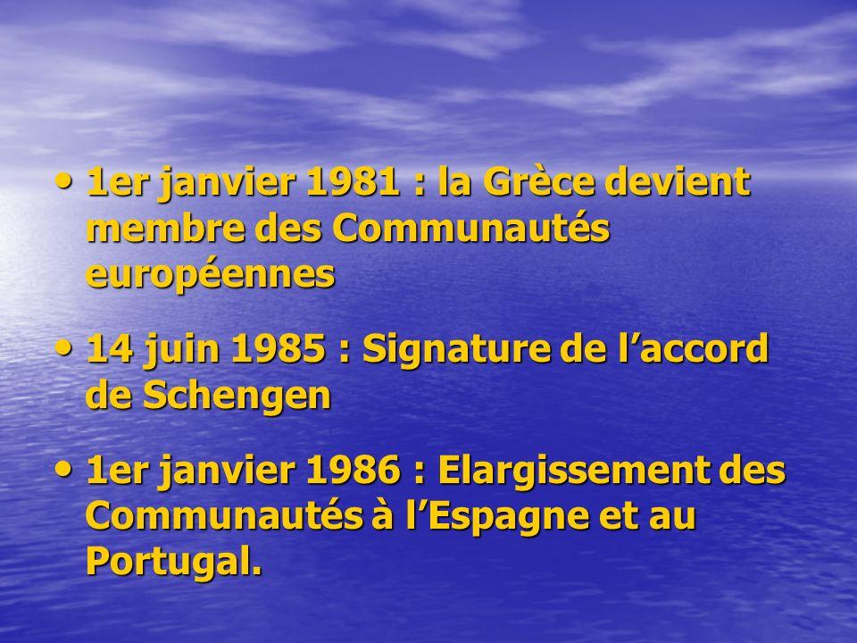 1er janvier 1981 : la Grèce devient membre des Communautés européennes 1er janvier 1981 : la Grèce devient membre des Communautés européennes 14 juin 1985 : Signature de laccord de Schengen 14 juin 1985 : Signature de laccord de Schengen 1er janvier 1986 : Elargissement des Communautés à lEspagne et au Portugal.
