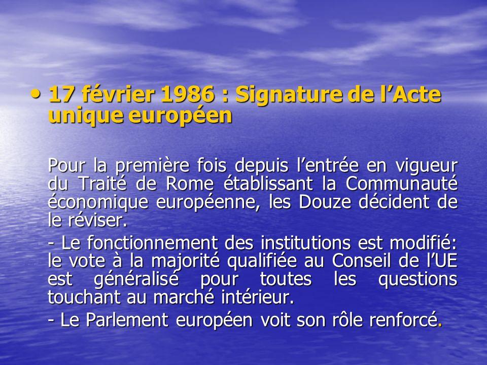 17 février 1986 : Signature de lActe unique européen 17 février 1986 : Signature de lActe unique européen Pour la première fois depuis lentrée en vigueur du Traité de Rome établissant la Communauté économique européenne, les Douze décident de le réviser.