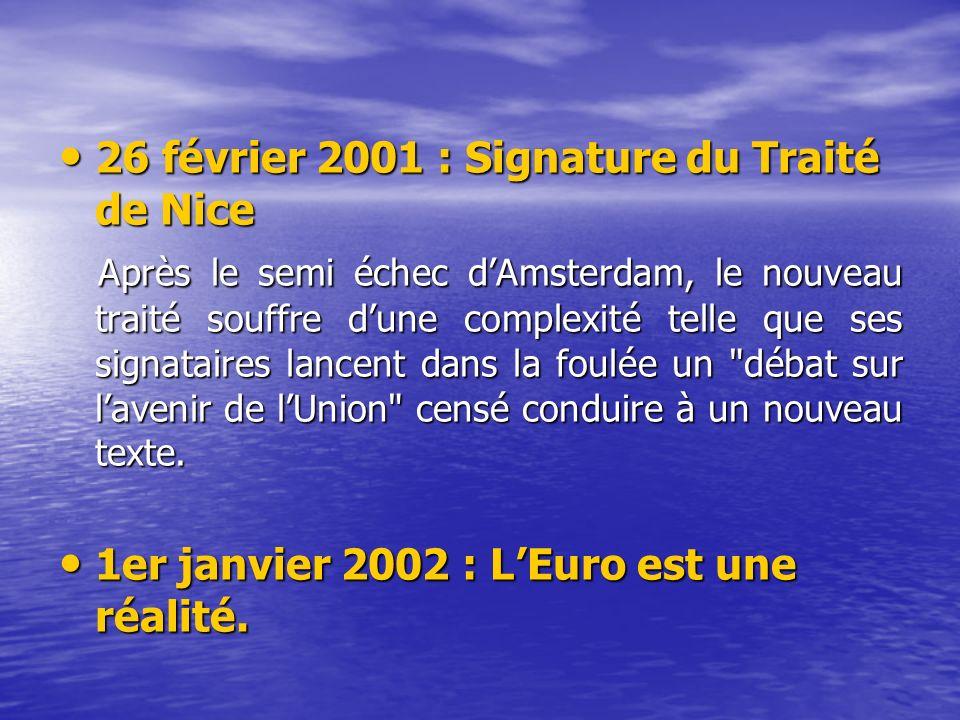 26 février 2001 : Signature du Traité de Nice 26 février 2001 : Signature du Traité de Nice Après le semi échec dAmsterdam, le nouveau traité souffre dune complexité telle que ses signataires lancent dans la foulée un débat sur lavenir de lUnion censé conduire à un nouveau texte.