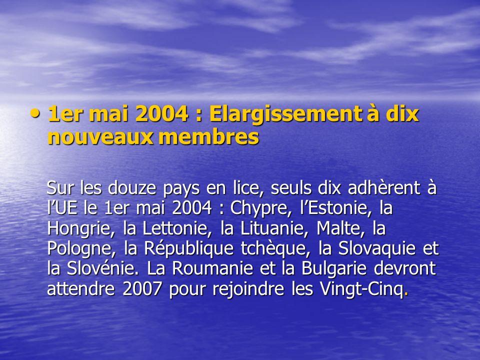 1er mai 2004 : Elargissement à dix nouveaux membres 1er mai 2004 : Elargissement à dix nouveaux membres Sur les douze pays en lice, seuls dix adhèrent à lUE le 1er mai 2004 : Chypre, lEstonie, la Hongrie, la Lettonie, la Lituanie, Malte, la Pologne, la République tchèque, la Slovaquie et la Slovénie.
