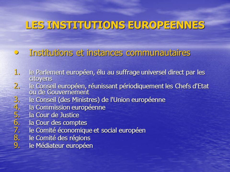 LES INSTITUTIONS EUROPEENNES Institutions et instances communautaires Institutions et instances communautaires 1.