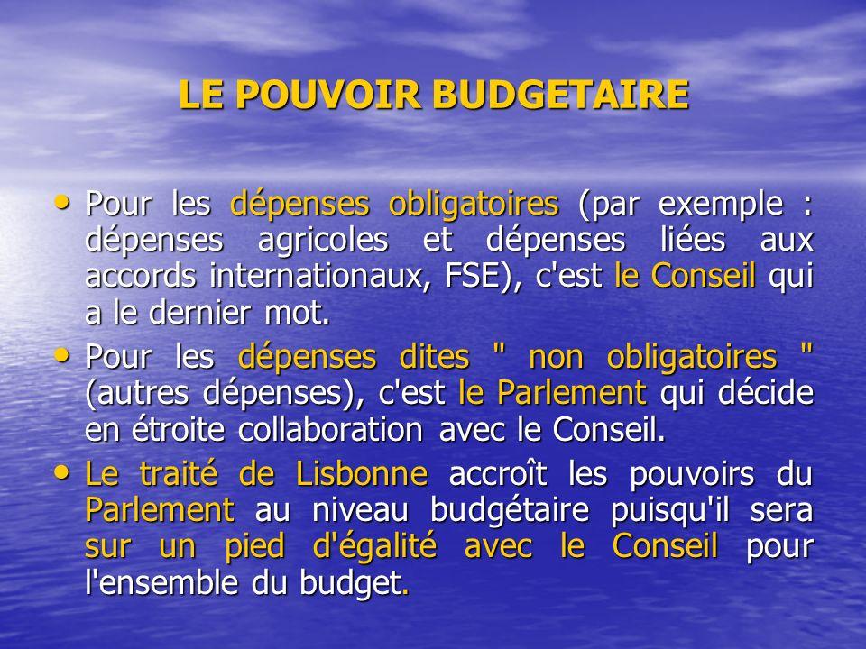 LE POUVOIR BUDGETAIRE Pour les dépenses obligatoires (par exemple : dépenses agricoles et dépenses liées aux accords internationaux, FSE), c est le Conseil qui a le dernier mot.