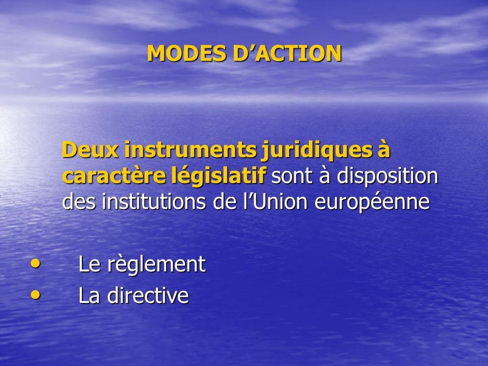 MODES DACTION Deux instruments juridiques à caractère législatif sont à disposition des institutions de lUnion européenne Deux instruments juridiques à caractère législatif sont à disposition des institutions de lUnion européenne Le règlement Le règlement La directive La directive