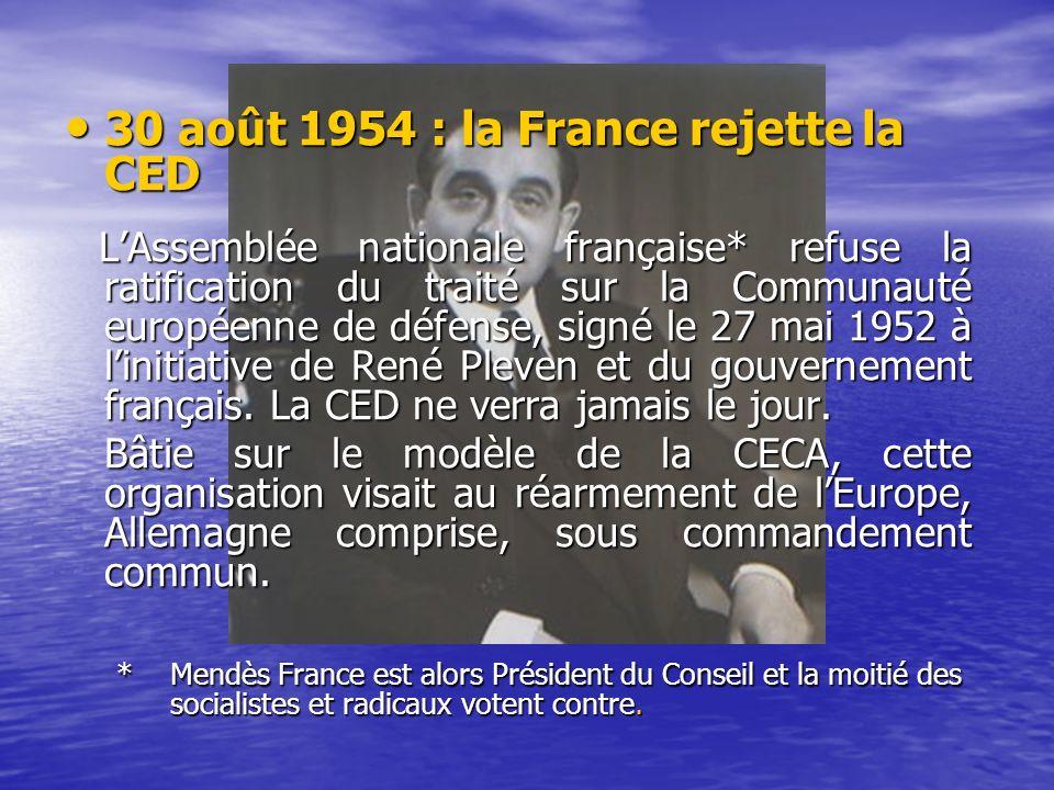 30 août 1954 : la France rejette la CED 30 août 1954 : la France rejette la CED LAssemblée nationale française* refuse la ratification du traité sur la Communauté européenne de défense, signé le 27 mai 1952 à linitiative de René Pleven et du gouvernement français.