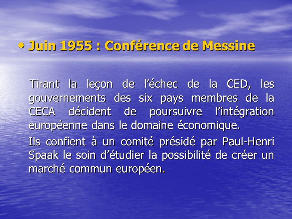Juin 1955 : Conférence de Messine Juin 1955 : Conférence de Messine Tirant la leçon de léchec de la CED, les gouvernements des six pays membres de la CECA décident de poursuivre lintégration européenne dans le domaine économique.