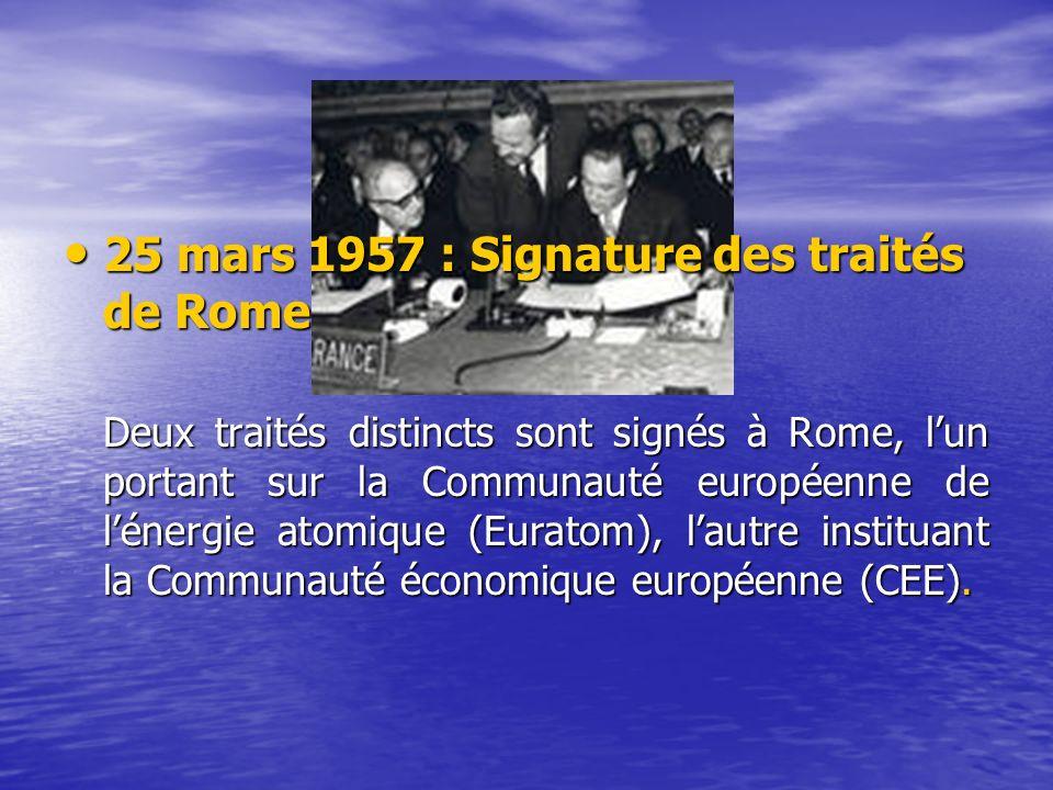 25 mars 1957 : Signature des traités de Rome 25 mars 1957 : Signature des traités de Rome Deux traités distincts sont signés à Rome, lun portant sur la Communauté européenne de lénergie atomique (Euratom), lautre instituant la Communauté économique européenne (CEE).
