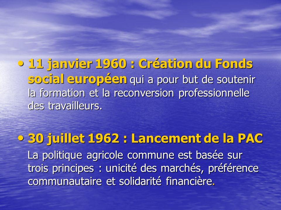 11 janvier 1960 : Création du Fonds social européen qui a pour but de soutenir la formation et la reconversion professionnelle des travailleurs.