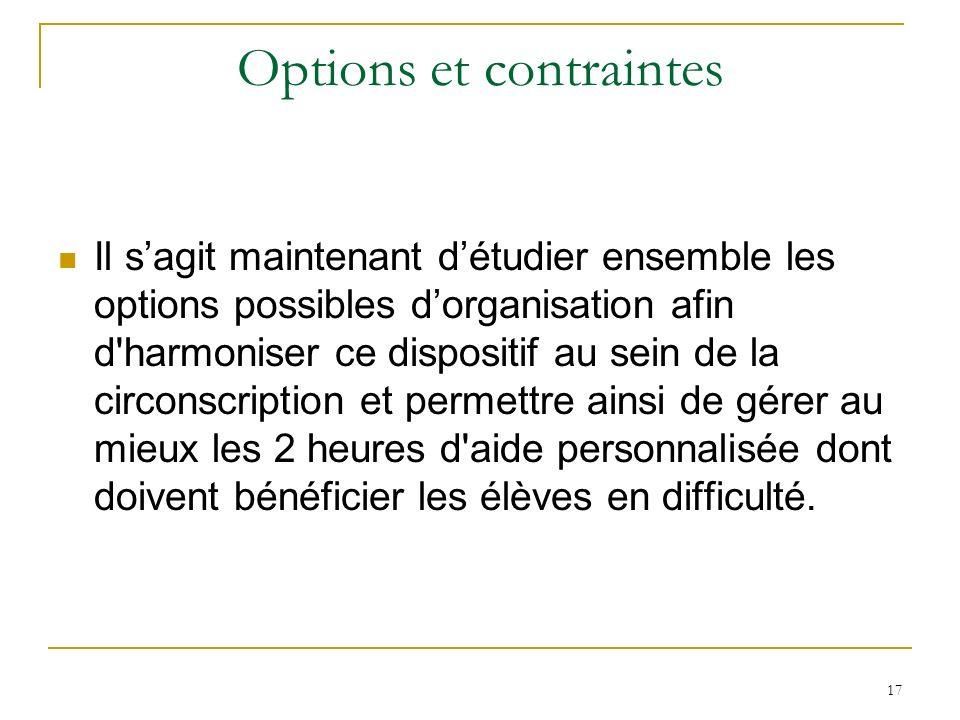 17 Options et contraintes Il sagit maintenant détudier ensemble les options possibles dorganisation afin d'harmoniser ce dispositif au sein de la circ