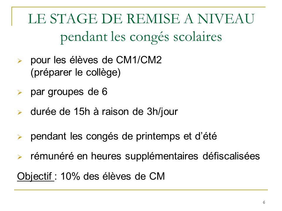 6 LE STAGE DE REMISE A NIVEAU pendant les congés scolaires pour les élèves de CM1/CM2 (préparer le collège) par groupes de 6 durée de 15h à raison de