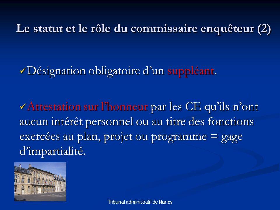 Tribunal administratif de Nancy Le statut et le rôle du commissaire enquêteur (2) Désignation obligatoire dun suppléant. Désignation obligatoire dun s