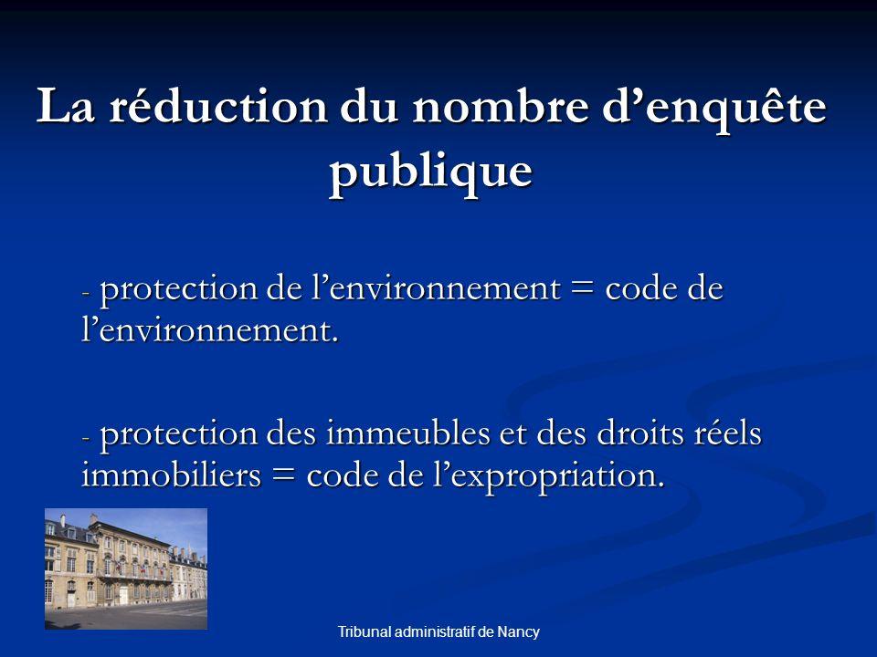 Tribunal administratif de Nancy La réduction du nombre denquête publique - protection de lenvironnement = code de lenvironnement.