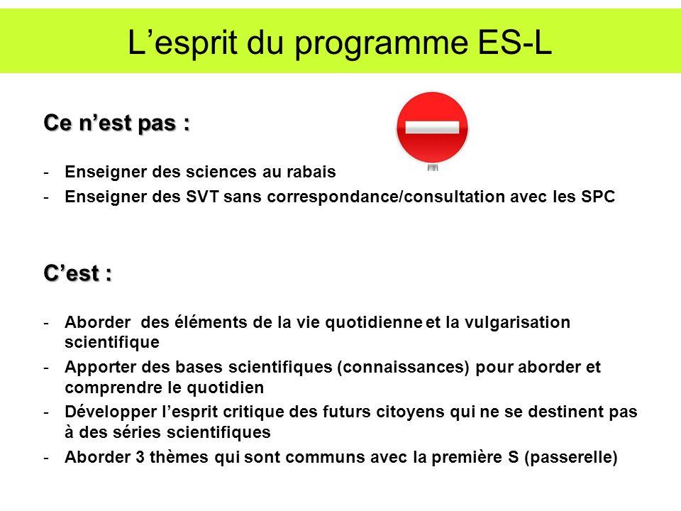Lesprit du programme ES-L Ce nest pas : -Enseigner des sciences au rabais -Enseigner des SVT sans correspondance/consultation avec les SPC Cest : -Abo