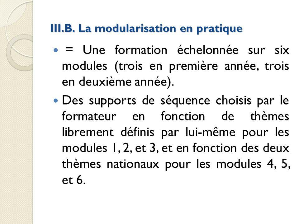 III.B. La modularisation en pratique = Une formation échelonnée sur six modules (trois en première année, trois en deuxième année). Des supports de sé