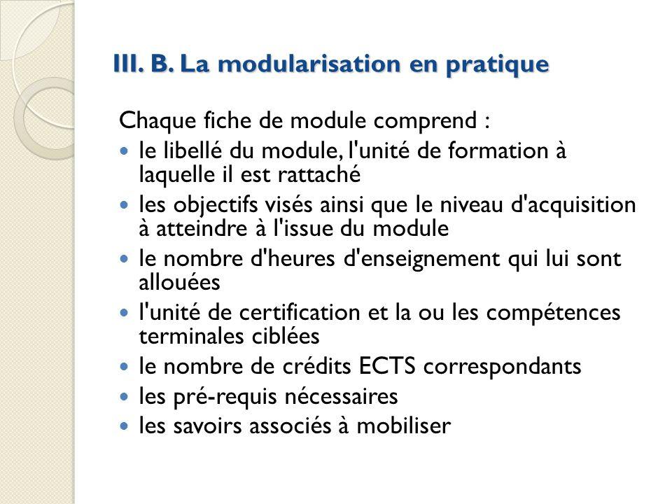 III. B. La modularisation en pratique Chaque fiche de module comprend : le libellé du module, l'unité de formation à laquelle il est rattaché les obje