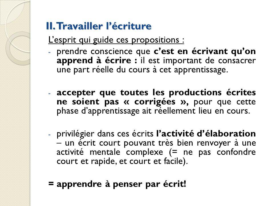 II. Travailler lécriture Lesprit qui guide ces propositions : - prendre conscience que cest en écrivant quon apprend à écrire : il est important de co