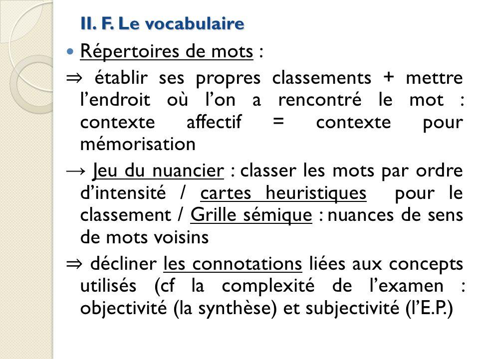 II. F. Le vocabulaire Répertoires de mots : établir ses propres classements + mettre lendroit où lon a rencontré le mot : contexte affectif = contexte