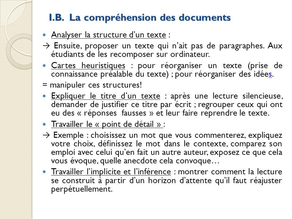 I.B. La compréhension des documents Analyser la structure dun texte : Ensuite, proposer un texte qui nait pas de paragraphes. Aux étudiants de les rec