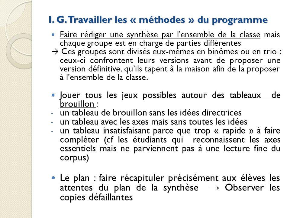 I. G. Travailler les « méthodes » du programme Faire rédiger une synthèse par lensemble de la classe mais chaque groupe est en charge de parties diffé