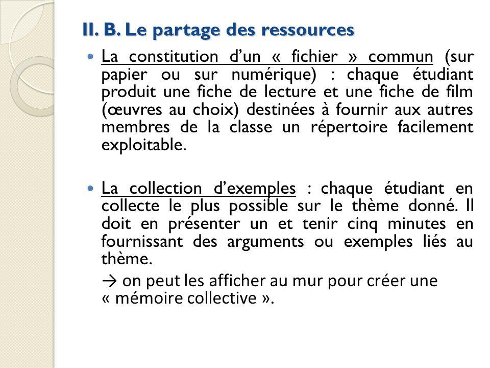 II. B. Le partage des ressources La constitution dun « fichier » commun (sur papier ou sur numérique) : chaque étudiant produit une fiche de lecture e