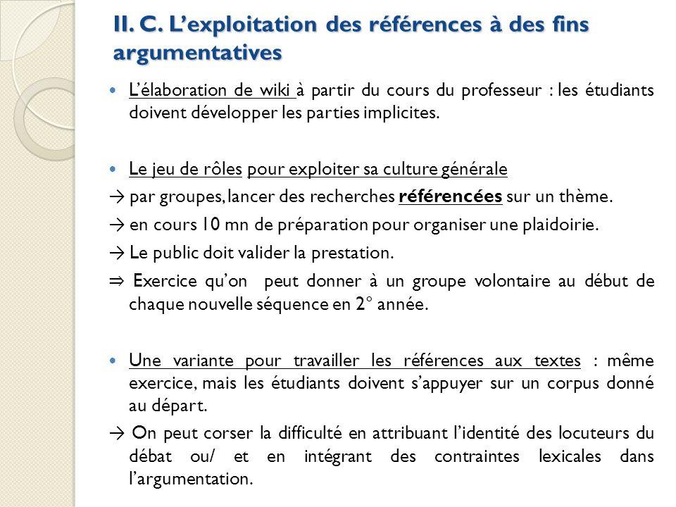 II. C. Lexploitation des références à des fins argumentatives Lélaboration de wiki à partir du cours du professeur : les étudiants doivent développer