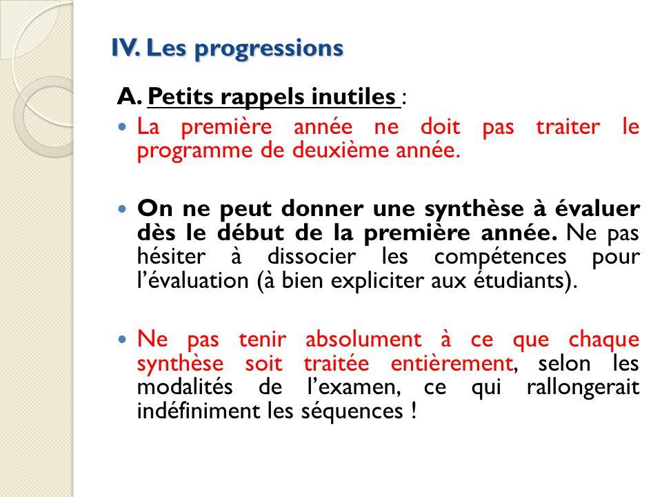 IV. Les progressions A. Petits rappels inutiles : La première année ne doit pas traiter le programme de deuxième année. On ne peut donner une synthèse