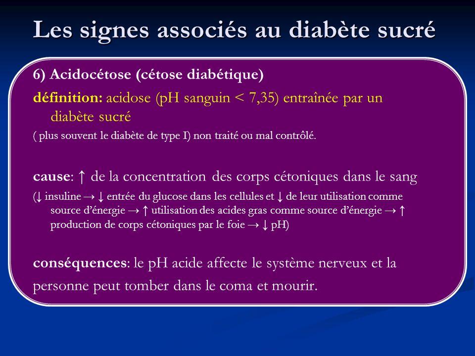 Les signes associés au diabète sucré 6) Acidocétose (cétose diabétique) définition: acidose (pH sanguin < 7,35) entraînée par un diabète sucré ( plus