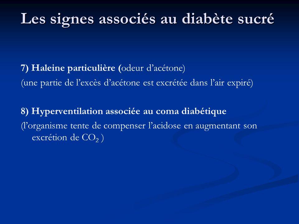 Les signes associés au diabète sucré 7) Haleine particulière (odeur dacétone) (une partie de lexcès dacétone est excrétée dans lair expiré) 8) Hyperve