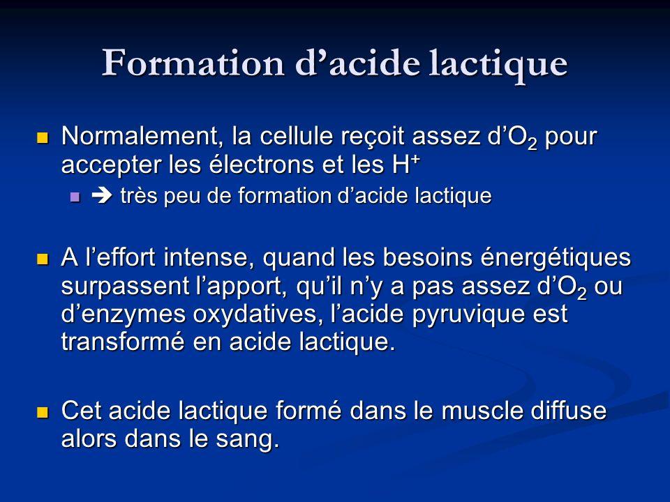 Formation dacide lactique Normalement, la cellule reçoit assez dO 2 pour accepter les électrons et les H + Normalement, la cellule reçoit assez dO 2 p