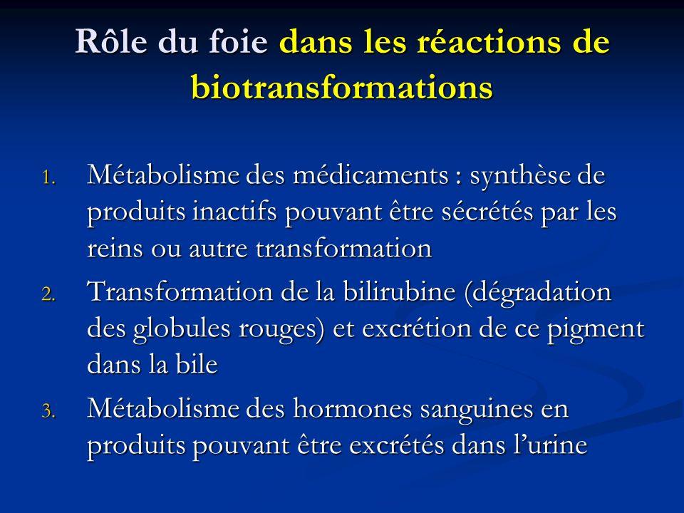 Rôle du foie dans les réactions de biotransformations 1. Métabolisme des médicaments : synthèse de produits inactifs pouvant être sécrétés par les rei