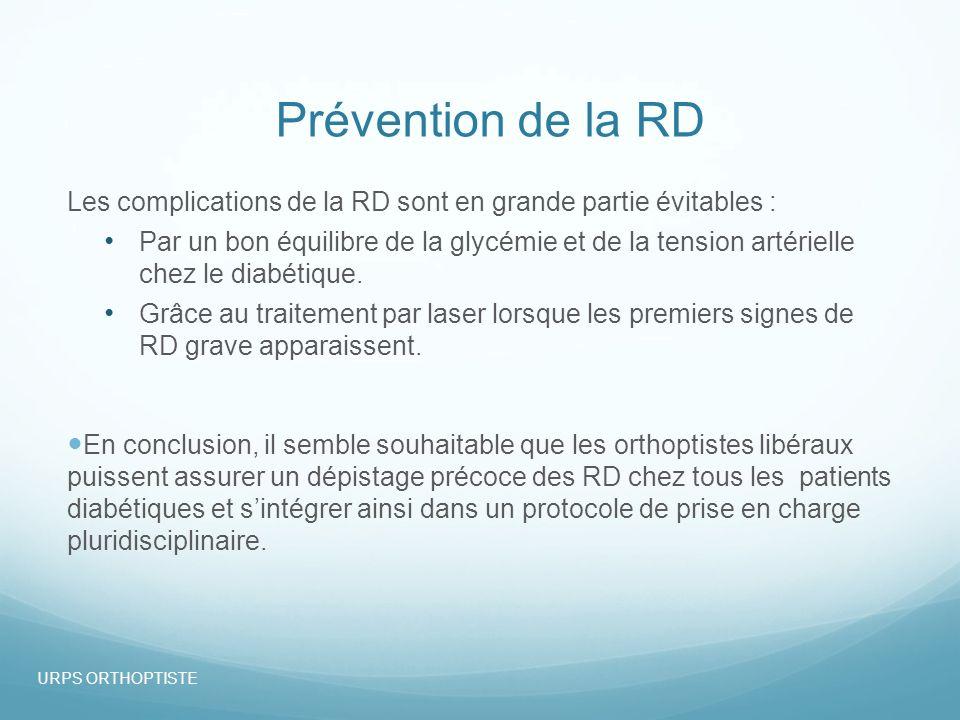 Prévention de la RD Les complications de la RD sont en grande partie évitables : Par un bon équilibre de la glycémie et de la tension artérielle chez le diabétique.