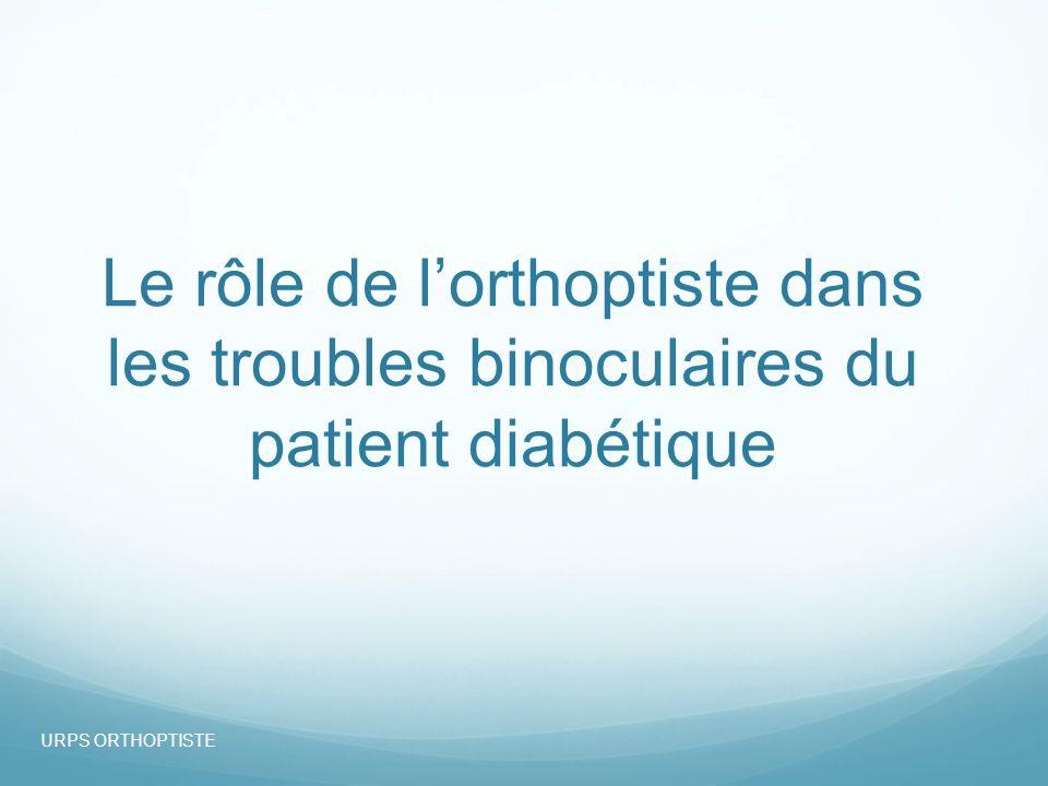 Le rôle de lorthoptiste dans les troubles binoculaires du patient diabétique URPS ORTHOPTISTE