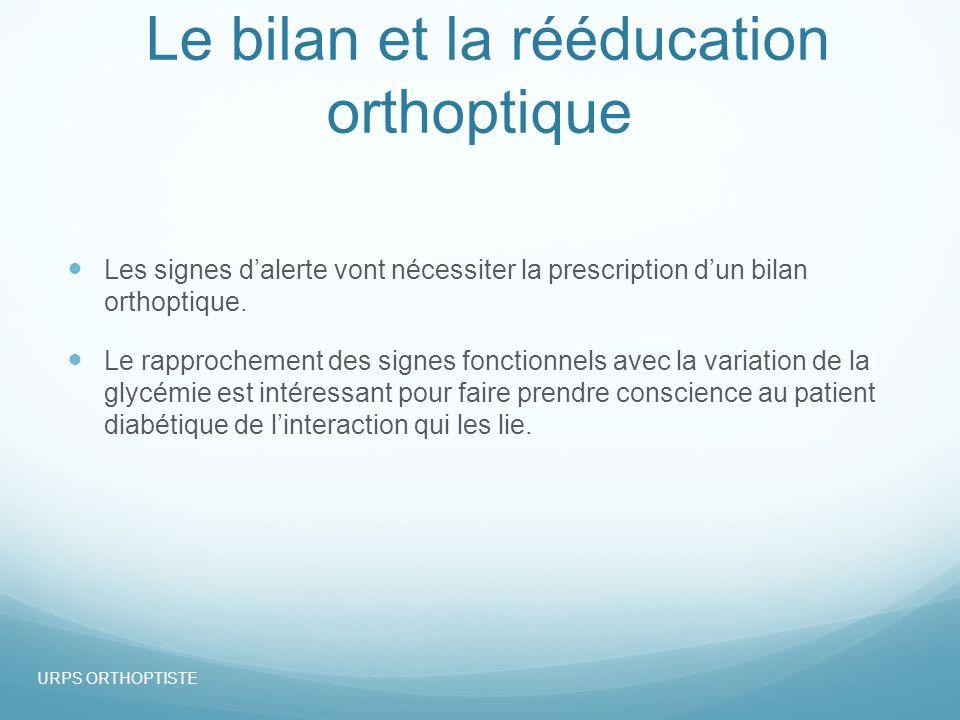 Le bilan et la rééducation orthoptique Les signes dalerte vont nécessiter la prescription dun bilan orthoptique.