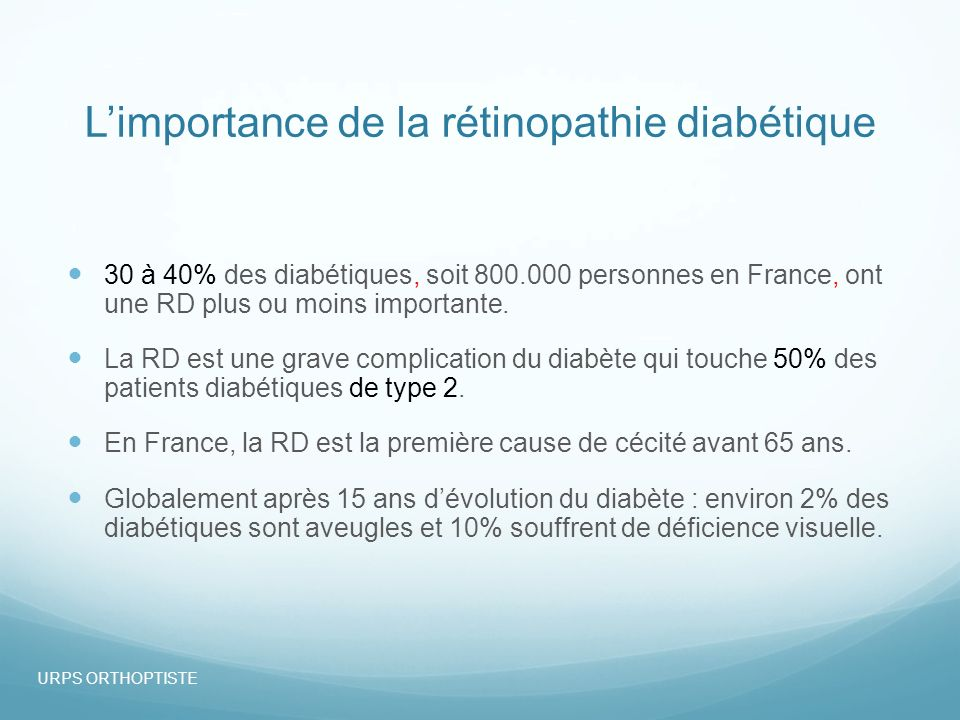 Limportance de la rétinopathie diabétique Ainsi, en France : environ 1 000 personnes deviennent aveugles chaque année du fait de la RD et 5000 malvoyants.